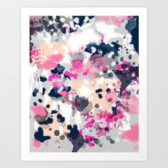Nico - Abstract painting in modern fresh colors navy, mint, pink, cream, white, and gold Art Print by CharlotteWinter | Society6