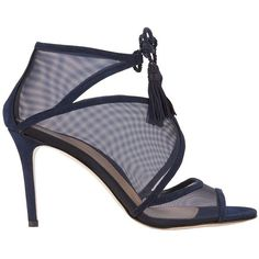 Marion Parke Women's Lita Navy Sandals ($595) ❤ liked on Polyvore featuring shoes, sandals, navy, high heeled footwear, open toe shoes, navy shoes, tassel shoes and navy sandals