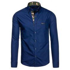 Pánska tmavomodrá košeľa s dlhým rukávom - fashionday.eu Denim Button Up, Button Up Shirts, Shirt Dress, Suits, Nike, Jeans, Mens Tops, Jackets, Dresses