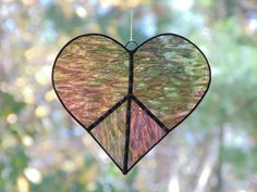 Peace heart stained glass suncatcher, love and peace home decor, iridescent purple heart, gift under 30, window art, large heart by DesignsStainedGlass on Etsy