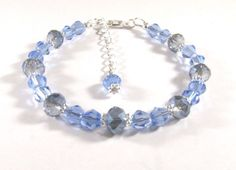 Bracelet Adorned with Silver Champagne and Light Sapphire Blue Crystals #Handmade #Beaded