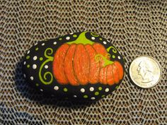 Whimsical Pumpkins Painted Stone Rock Painting Fall Themed Pumpkin Rock