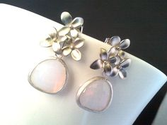 Cherry Blossom with  Violet Opal Silver Earrings  by LaLaCrystal, $25.50