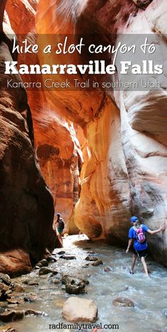 Hiking the Kanarra Creek Trail through a slot canyon to Kanarraville Falls in southern Utah is a hidden gem sitting close to Zion National Park. Also near Bryce, your family needs to add this to your list when taking a vacation through gorgeous Utah!