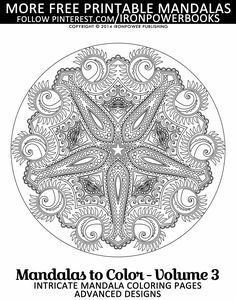 Advanced Mandala Coloring Pages for Adults @ironpowerbooks  | Please use freely for personal non-commercial use