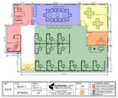 Office floor plan for an office with large meeting room. #cubiclelayout