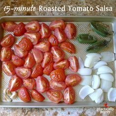 A great way to use the bountiful tomatoes from your garden! This salsa seriously takes 15 minutes. Canning Recipes, Paleo Recipes, Mexican Food Recipes, Great Recipes, Favorite Recipes, Mexican Dinners, Dinner Recipes, Roasted Tomato Salsa, Roasted Tomatoes