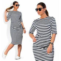 Trendy Stripe Plus Size Casual Stylish Dress