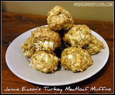 Jamie Eason's Turkey Meatloaf Muffins  pinner said: ((Really good recipe.  I added leftover bell peppers and onions I had on hand to really bulk this up.  Tomato paste  onion  spinach  1 egg  parm cheese  garlic  1 pound turkey  other dried seasoning