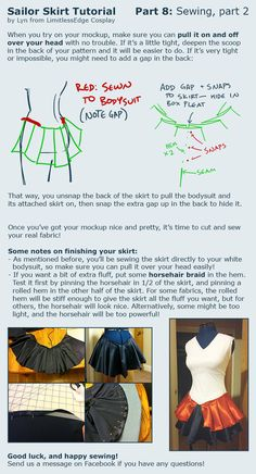 "dangerous-ladies: "" limitlessedge: "" Long post, but hopefully you guys find this helpful! I'm making a sailor fuku and thought I'd post a tutorial on how I did the skirt, since a few friends asked..."