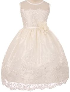 69b3f22a0057 Amazon.com: Little Girls Embroidered Illusion Neckline Lace Flowers Girls  Dresses: Clothing