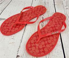 6e894d9a06b0 Coach Lyra Red Signature Jelly Flip Flops Sandals Thongs Shoes Women s Size  10 B