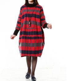 Women Wool Dress Loose Dress Autumn Dress 3/4 Sleeve Dress Large Size – Tkdress
