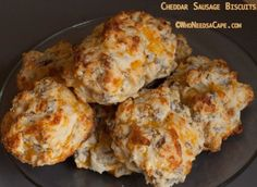Our family loves Cheddar Sausage Biscuits! Loaded with cheesy goodness and sausage they make a great breakfast or lunch item! Sausage Muffins, Sausage Biscuits, Cheese Biscuits, Sausage Breakfast, Breakfast Dishes, Breakfast Recipes, Breakfast Ideas, Mayonaise Biscuits, Oatmeal Biscuits