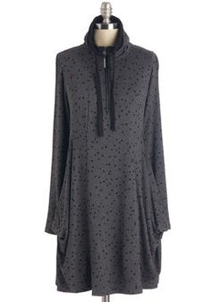 Today's Speckles Dress. As the casual style-'du-jour', this dynamic charcoal-grey dress from Kensie sports a plethora of laidback details. #grey #modcloth