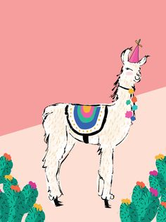 Chelsea of Lovely Indeed asked me to create this festive llama printable for Cinco de Mayo. She took the liberty of naming the llama Trudy, Alpacas, Llama Games, Illustrations, Illustration Art, Wallpapers Tumblr, Iphone Wallpapers, Wall Art Prints, Poster Prints, Llama Birthday