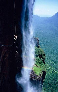 ziplining at angel falls, venezuela
