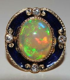 ANTIQUE OPAL ENAMEL DIAMOND RING #opals #opalsau #opalsaustralia