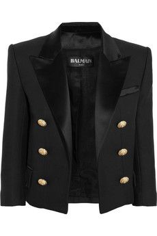 Balmain Cotton and silk-blend piqué tuxedo jacket   NET-A-PORTER