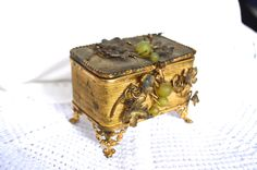 FRENCH JEWELRY CASKET Vintage Footed Gold Metal Trinket Box Antiqued Gold With Green Grapes and Gold Vine Leaves Green Satin Tufted Lining by StudioVintage on Etsy