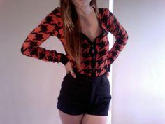 Orange Checkered Cardigan