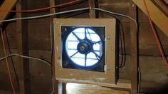 Car radiator fan used as solar-powered attic ventilator