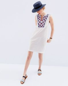 JUL '15 Style Guide: J.Crew women's sleeveless embroidered sunburst dress, straw boater hat, shiny tortoise cuff bracelet and chain-mail ankle-strap sandal.