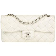 43df1ee1947e 2005 Chanel White Quilted Caviar Leather East West Classic Single Flap Bag