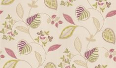 Samara (110040) - Harlequin Wallpapers - A pretty and dainty leaf floral design in a hand painted water colour effect. Showing in lime green and berry purple on white. Other colour ways available. Please request a sample for true colour match. Paste-the-wall product.