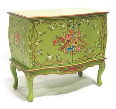 Bombe Cabinet  Shown in Charteuse with Aged Gold accents featuring the Italian bird design.
