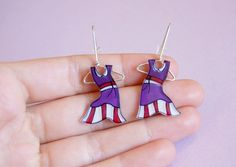 Your place to buy and sell all things handmade Earring Hanger, Hand Saw, Hand Illustration, Sterling Silver Earrings, Hand Painted, Christmas Ornaments, Color, Etsy, Jewelry