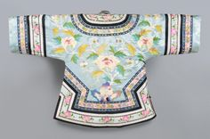 China, Woman's Short Robe, Pale blue silk damask with appliqués of multicolored silk plain weave and satin; multicolored silk woven ribbons; black silk satin; pale grey silk satin; round brass-colored metal buttons; pink silk plain weave,  late 19th c