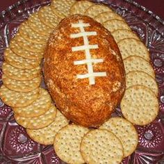 Football Cheese Ball - Get ready for game time with this creamy and spicy cheese ball made with cheddar, green onions and taco seasoning. Cheese Ball Recipes, Appetizer Recipes, Appetizers, Party Recipes, Dip Recipes, Recipies, Super Bowl Essen, Mousse, Salads