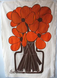 Vintage Screen Print Vallila Finland Howard by SomethingofInterest Diy Wall Art, Fabric Painting, Finland, Fiber Art, Screen Printing, 1960s, Orange, Unique Jewelry, Handmade Gifts