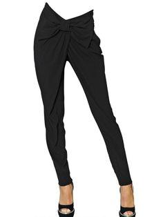 Viktor & Rolf High Waist Bow Viscose Crepe Trousers in Black
