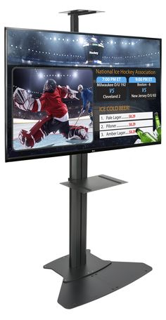 """Our digital directory set brings you top of the line electronic signage that will provide any local business the upper hand on their competitors. The kit includes a 49"""" LG® TV with HDMI capability and also comes with an adjustable black TV stand featuring shelves and a tilting frame. The top of the line electronic signage gives you, not only a high definition TV with 1080p resolution and a refresh rate of 120Hz, but the stand also totes an integrated outlet strip with switch for an… Digital Signage System, Black Tv Stand, Lg Tvs, High Definition, Totes, Shelves, Kit, Business, Shelving"""