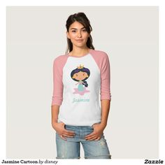 Jasmine Cartoon T-shirt. Regalos, Gifts. #camisetas #tshirt