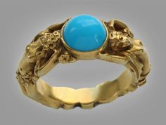 Art Noveau Naiads Ring. Turquoise.