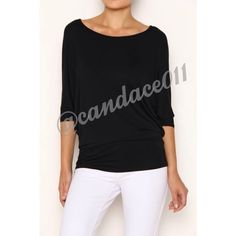 3/4 Sleeve Dolman Top (Black) ✳️Bundle to save 15%!✳️ Rayon Modal: 95% Rayon, 5% Spandex Made in the USA Size Recommendations: S (2-4) M (6-8) L (10-12) XL (14-16) 2X (18-20) 3X (22-24) CC Boutique  Tops Tees - Short Sleeve