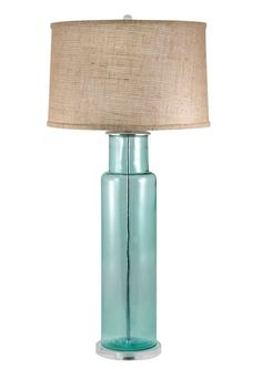 Glass Buoy Table Lamp In Blue