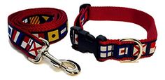 Preston Nautical Code Flag Dog Collar and Leash Set Multi Color Ribbon on Red Nylon Webbing Large *** You can get more details by clicking on the image.Note:It is affiliate link to Amazon.