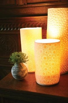 Lucy Brown Ceramics. Porcelain table lamps.