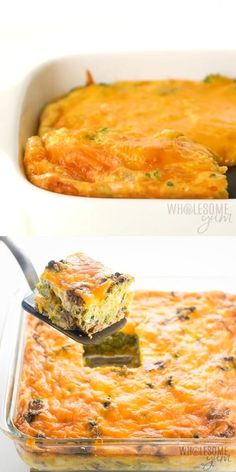 A gluten-free low carb breakfast casserole recipe with sausage and cheese - just 6 ingredients! This keto sausage, egg and cheese casserole without bread is easy to customize with vegetables, too. Low Calorie Casserole, Gluten Free Breakfast Casserole, Sausage Breakfast, Casserole Recipes, Loaded Cauliflower Casserole, Low Calorie Breakfast, Healthy Breakfast Recipes, Brunch Recipes, Paleo