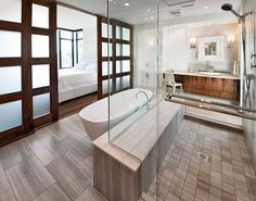 love the doors and shower (i'd want a bigger tub)
