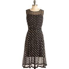 Eva Franco Piano Performance Dress ($104) ❤ liked on Polyvore featuring dresses, modcloth, polka dots, vestidos, spotted dress, sheer slip, eva franco, transparent dress and eva franco dress