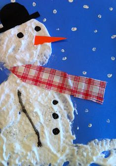 "Make a snowman with shaving cream and glue. It stays puffy and on the paper. Use with the book, ""the Biggest, Best Snowman."""