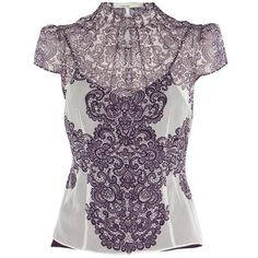 Bqueen Lace Print Blouse Purple K397P ($119) ❤ liked on Polyvore featuring tops, blouses, shirts, blusas, magliette, shirts & tops, purple shirt, shirts & blouses, purple blouse and purple top