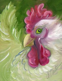 Emerald Eyed White Rooster by Amy Hautman