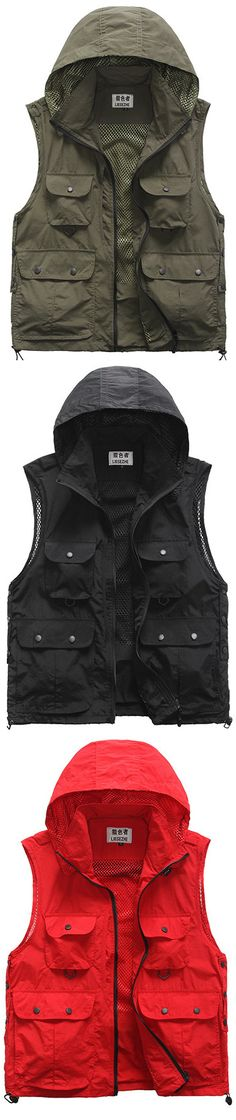 eacef5a2cb5d55 Outdoor Quick Dry Photograpohy Casual Hooded Mutil Pockets Vest for Men is  personalized