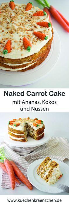 Carrot Cake I Karotten Kuchen I Rübli Torte - mit Ananas, Kokos und Nüssen von Küchenkränzchen #ostern #carrotcake #karotten